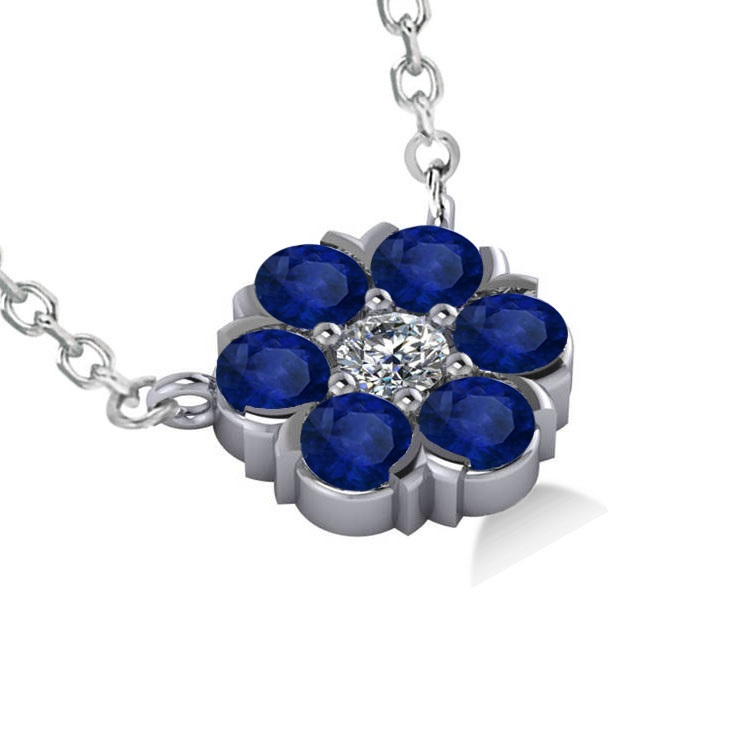 Blue Sapphire & Diamond Cluster Pendant Necklace 14k White Gold (1.06ct)