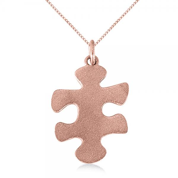 Puzzle piece pendant necklace in textured 14k rose gold allurez puzzle piece pendant necklace in textured 14k rose gold aloadofball Gallery
