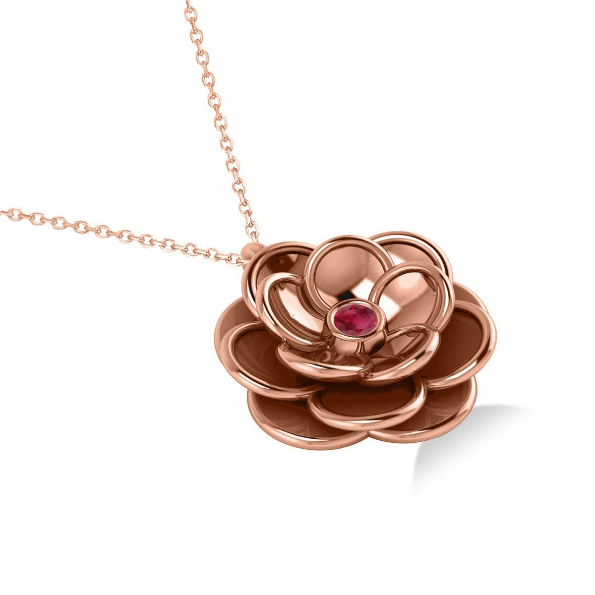 Ruby Round Flower Pendant Neckace 14k Rose Gold (0.05ct)