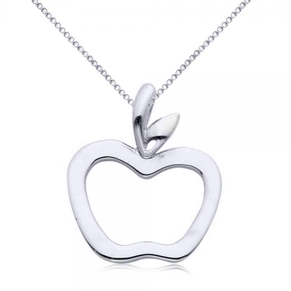 Hollow apple pendant necklace in plain metal 14k white gold allurez hollow apple pendant necklace in plain metal 14k white gold mozeypictures Image collections