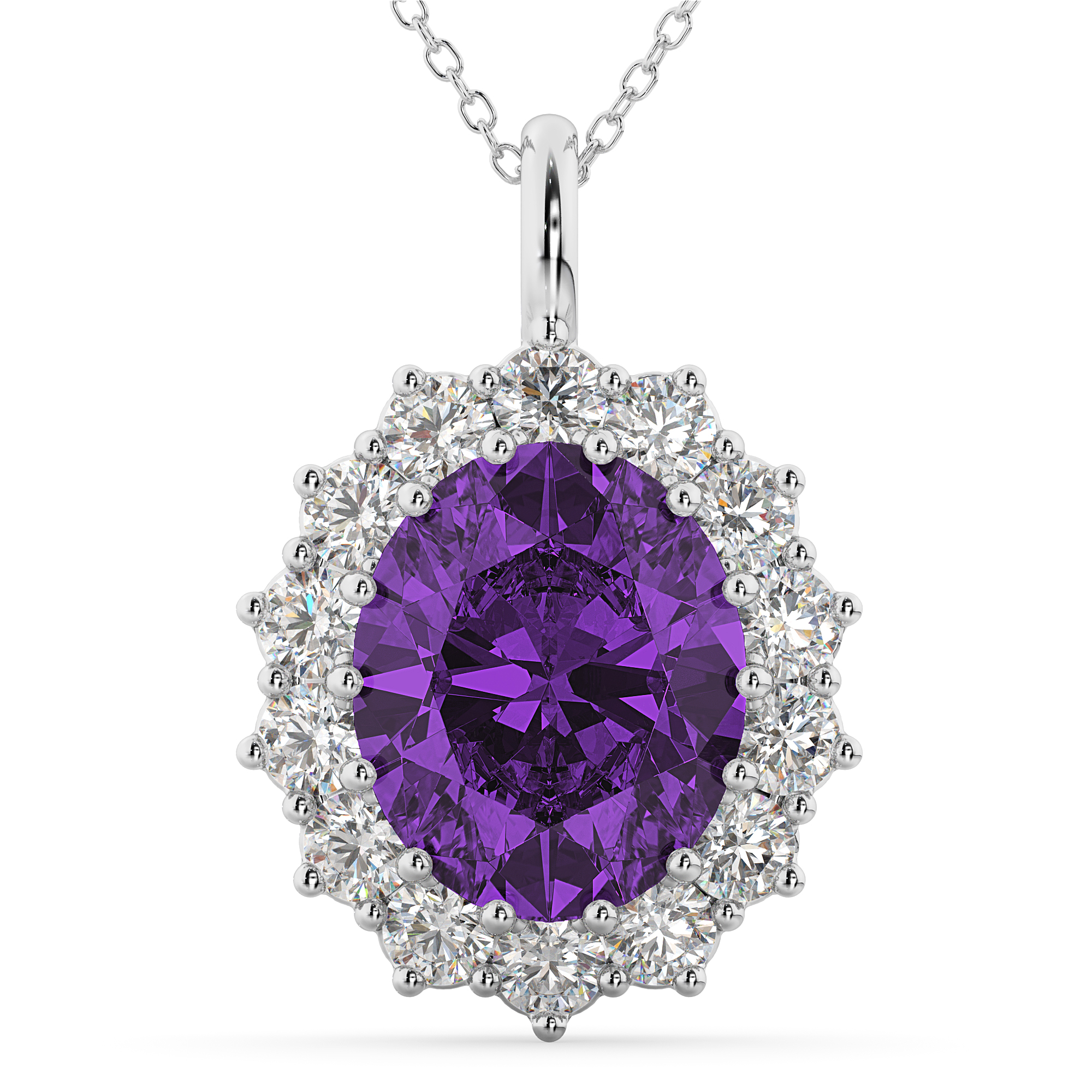 Allurez Oval Amethyst and Diamond Halo Pendant Necklace 1...