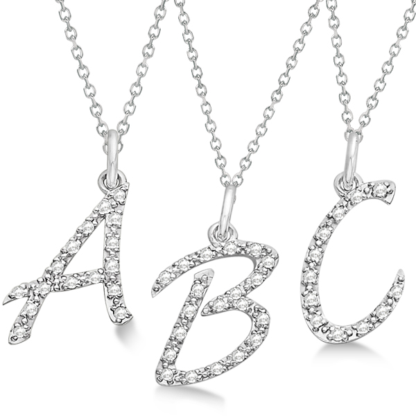 Personalized diamond script letter initial necklace 14k white gold personalized diamond script letter initial necklace in 14k white gold aloadofball Gallery