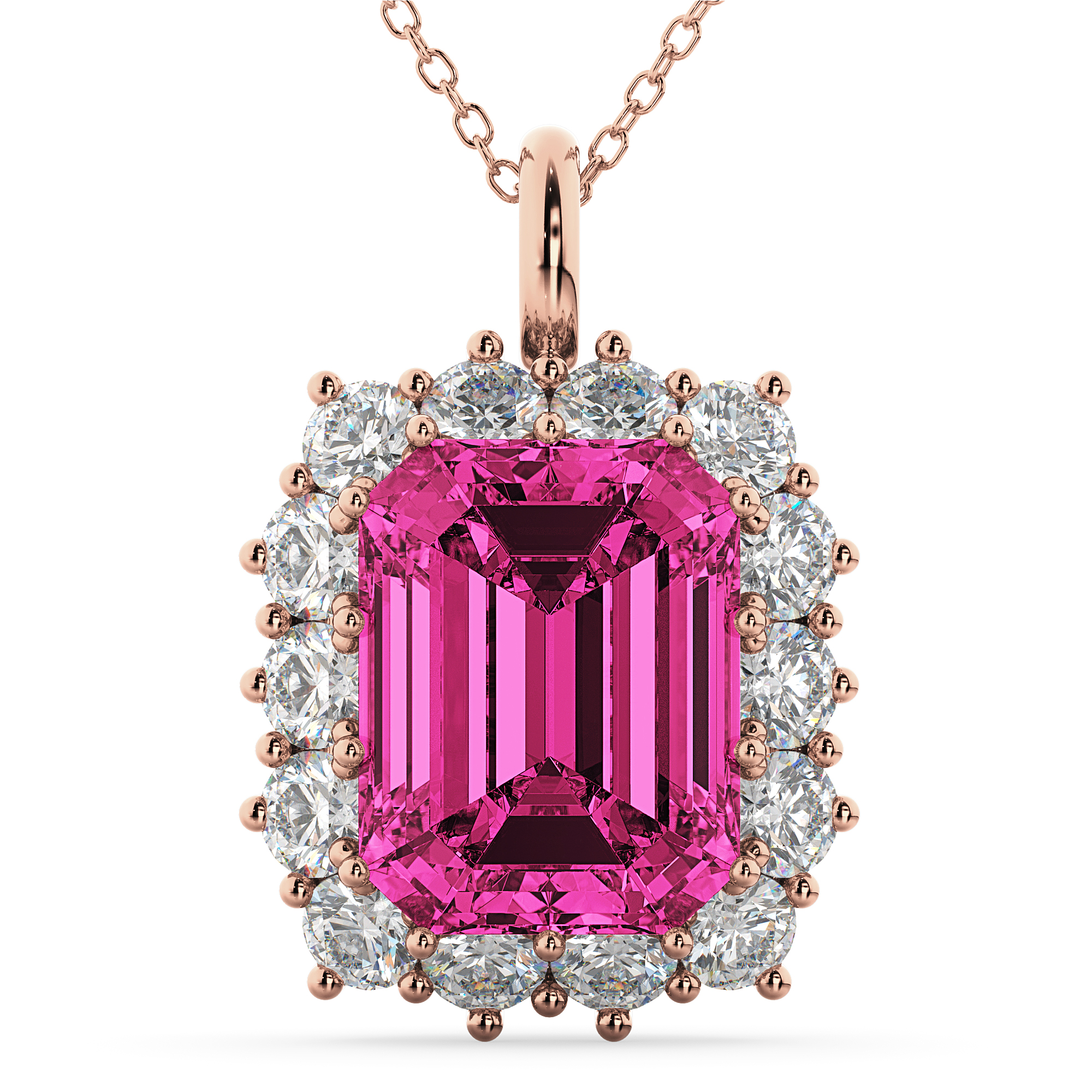 statement pin luxury pink tourmaline watermelon bib pendant gemstone necklace