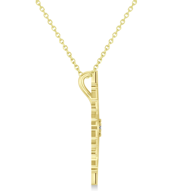 Diamond Wintertime Snowflake Pendant Necklace 14k Yellow Gold (0.04ct)