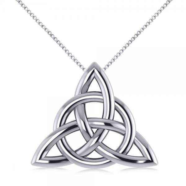 Triangular irish trinity celtic knot pendant necklace 14k white gold aloadofball Images