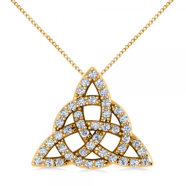 Diamond Trinity Celtic Knot Pendant Necklace 14k Yellow Gold (0.45ct)