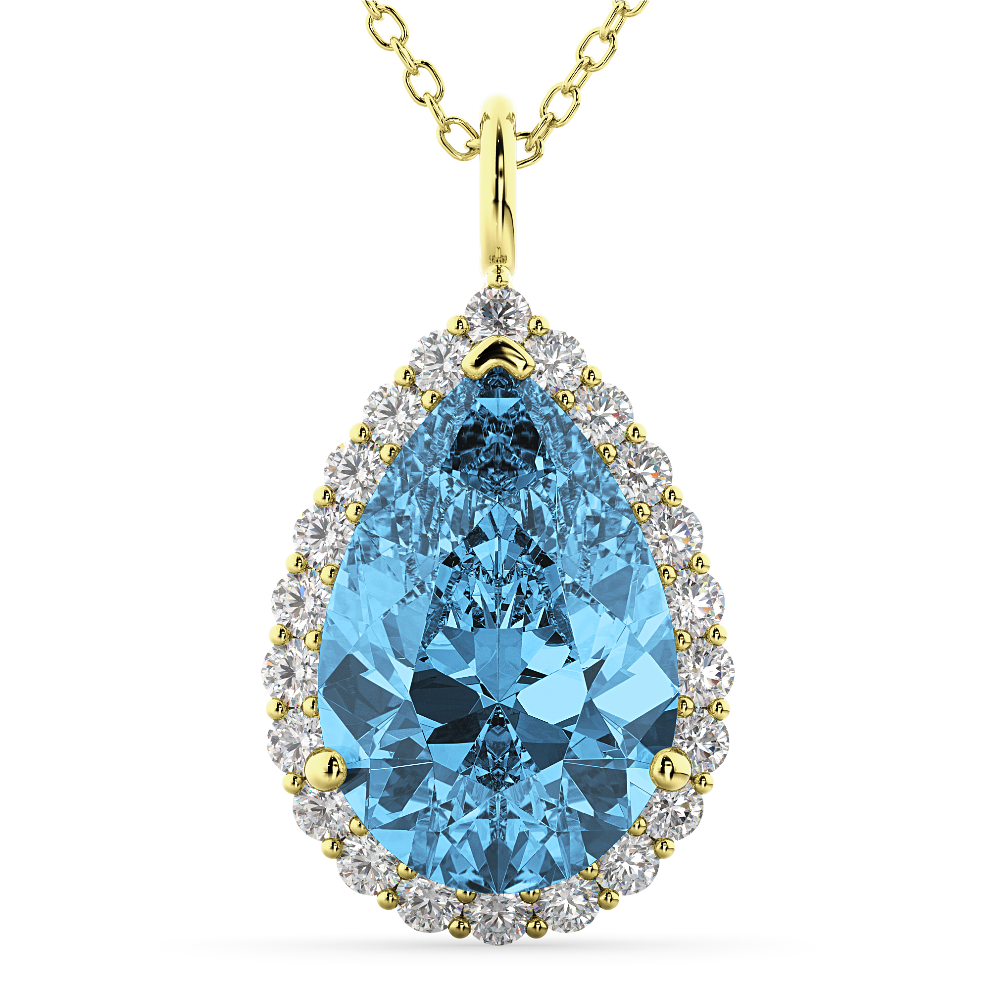 pear pendant shape diamond white shaped gold