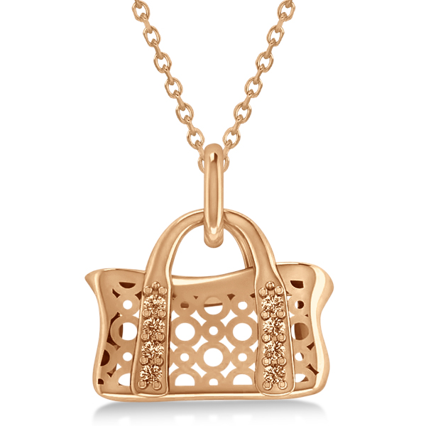 Purse Pendant Necklace with Diamond Accents 14k Pink Gold (0.08ct)