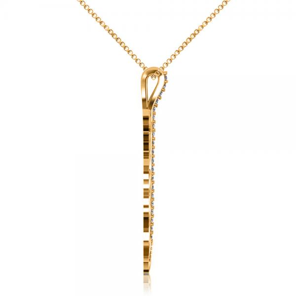 Diamond Accented Feather Pendant Necklace in 14k Yellow Gold (0.10ct)