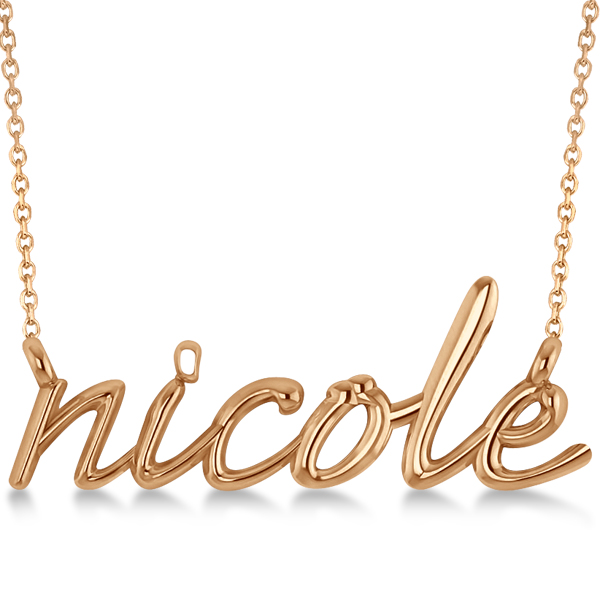 Personalized script font name pendant necklace solid 14k rose gold personalized script font name pendant necklace in solid 14k rose gold mozeypictures Gallery