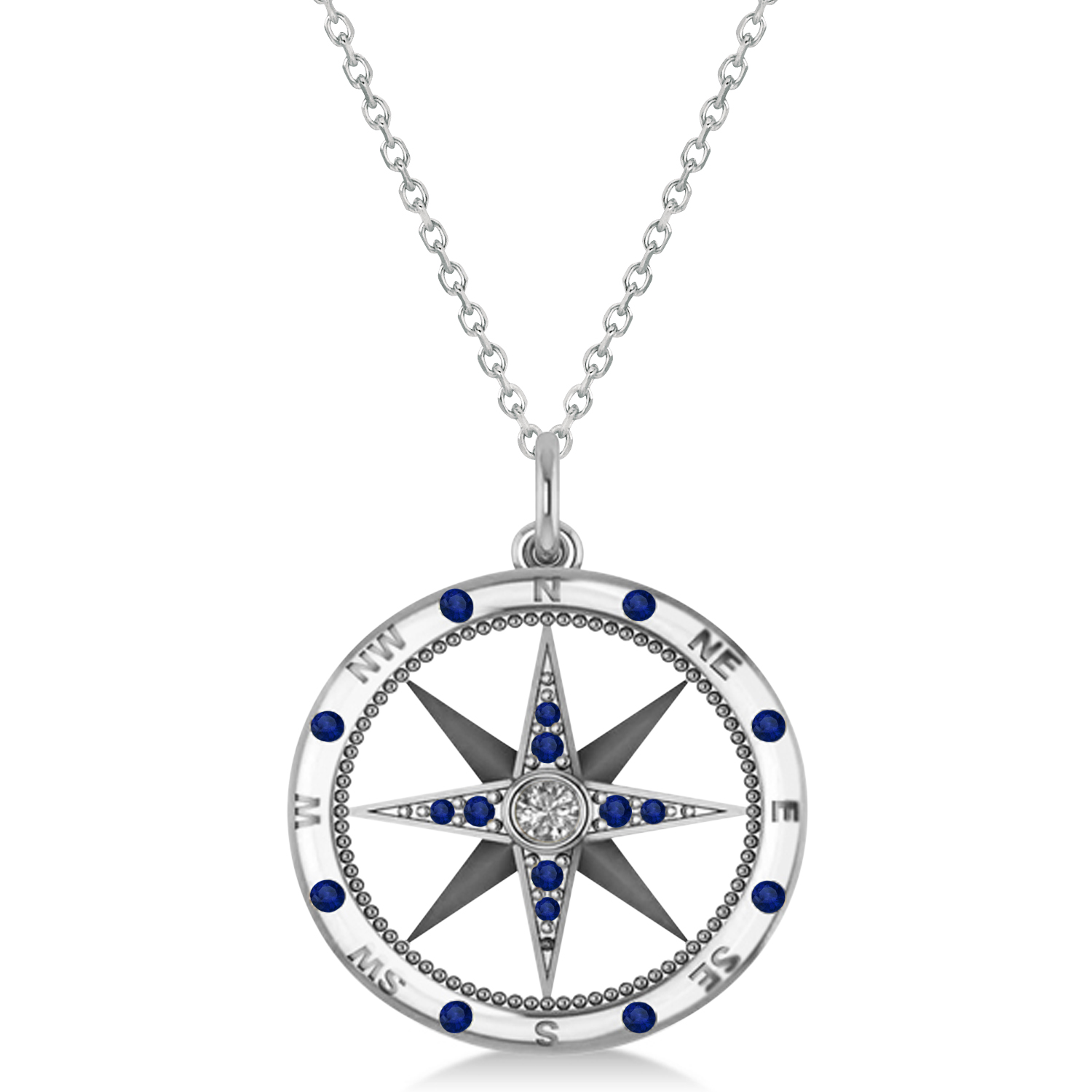 silver riverstones necklace compass en