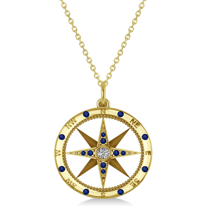 Allurez Compass Pendant Blue Sapphire and Diamond Accente...