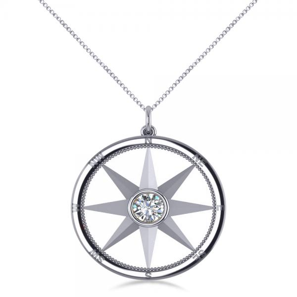 Diamond Nautical Compass Pendant Necklace 14k White Gold 066ct