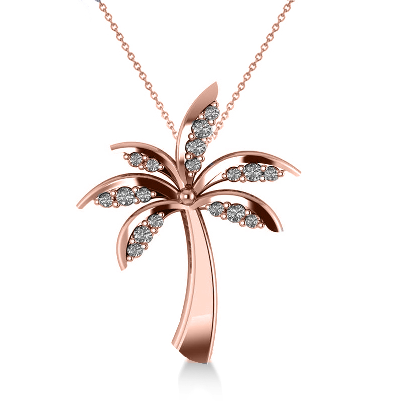 Diamond summer palm tree pendant necklace 14k rose gold 024ct diamond summer palm tree pendant necklace 14k rose gold 024ct mozeypictures Gallery