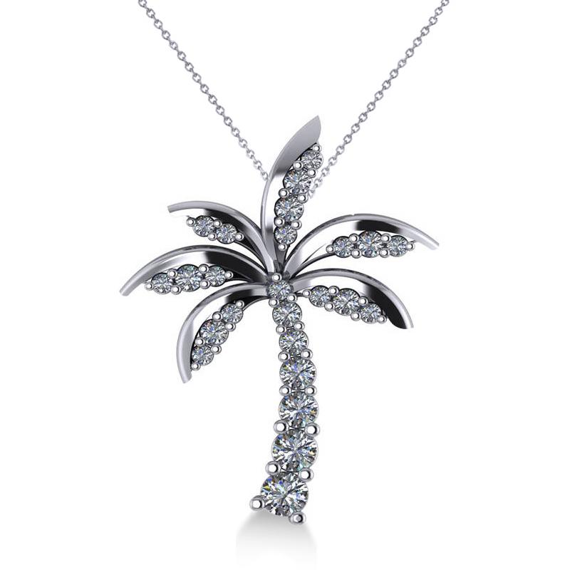 Allurez Diamond Tropical Palm Tree Pendant Necklace 14k W...