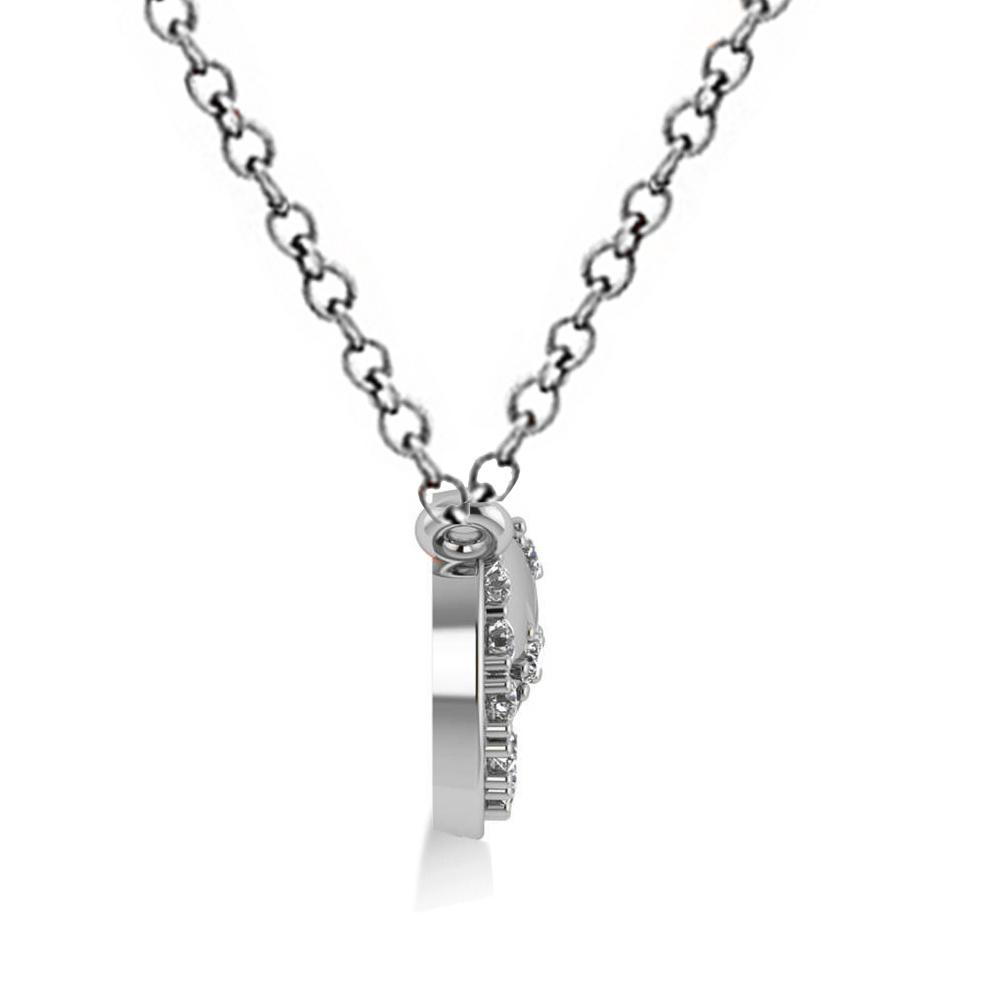 Diamond Crescent Moon & Stars Pendant Necklace 14k White Gold (0.14ct)