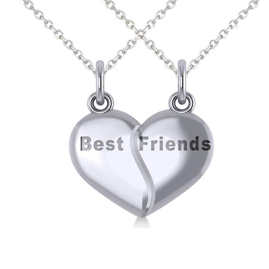Best Friend Break Apart Pendant Necklace 14k White Gold