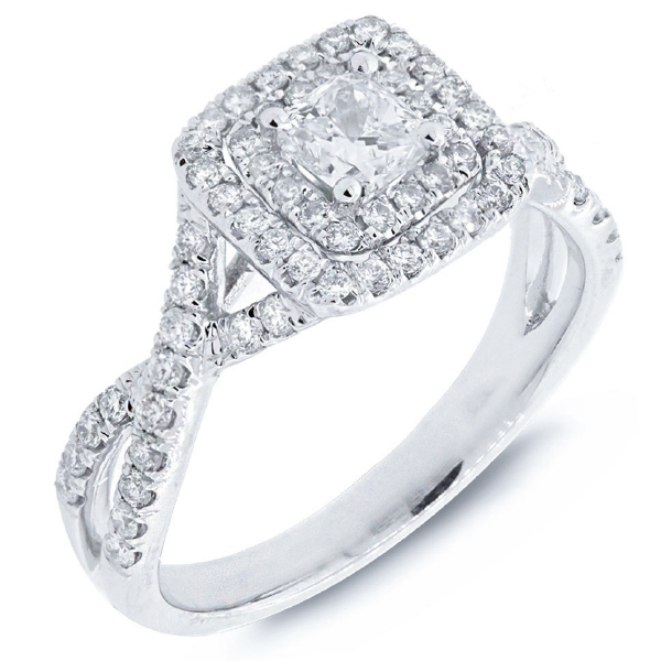 0.40ct Cushion Cut Center and 0.51ct Side 14k White Gold Engagement Ring