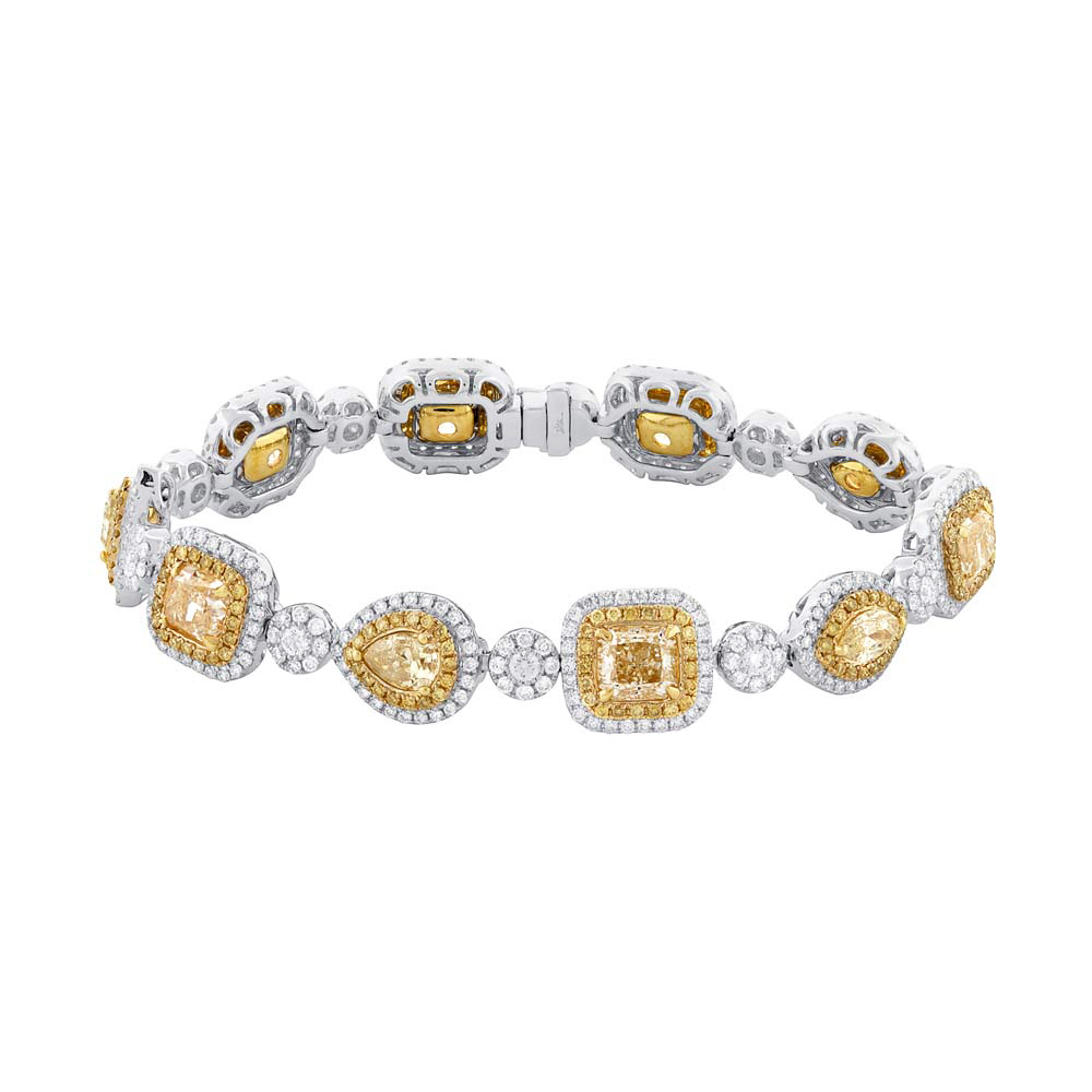 11.50ct Centers and 4.55ct Side 18k Two-tone Gold Natural Yellow Diamond Bracelet