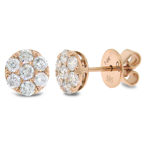 0.86ct 14k Rose Gold Diamond Round Invisible Stud Earrings