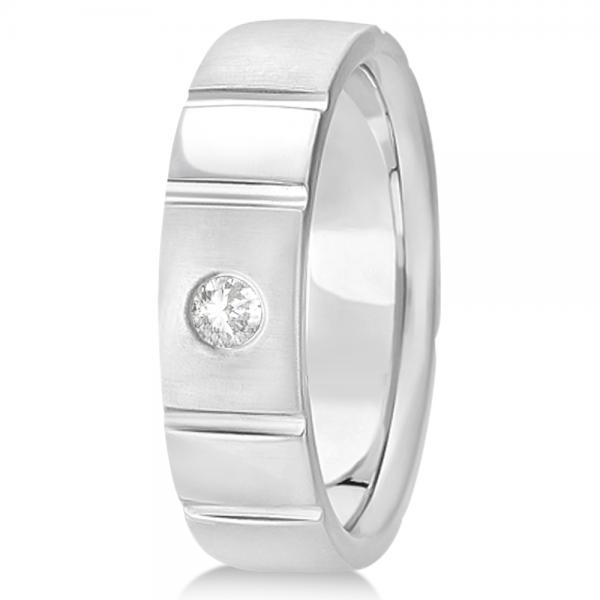 Men's Diamond Solitaire Wedding Ring Band 14k White Gold 7mm (0.12ct)