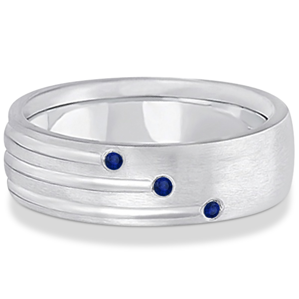 Mens Shooting Star Blue Sapphire Wedding Ring Band 14k White Gold