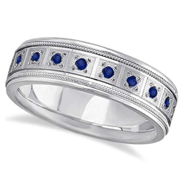 Merveilleux Blue Sapphire Ring For Men Wedding Band 14k White Gold (0.80ctw)