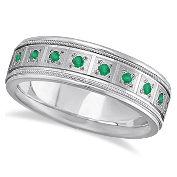 Emerald Ring For Men Wedding Band 14k White Gold 0 80ctw