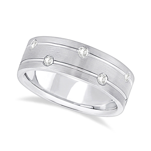 Allurez Mens Wide Band Diamond Wedding Ring w/ Grooves Pa...
