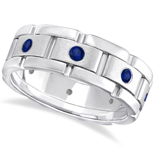 Mens Blue Sapphire Wedding Ring Wide Band 18k White Gold 080ct
