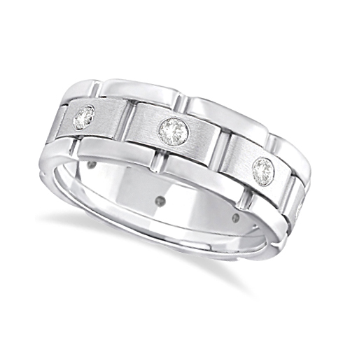 Allurez Mens Wide Band Diamond Eternity Wedding Ring 14kt...