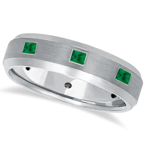PrincessCut Emerald Ring for Men Wedding Band 14k White Gold 080ct