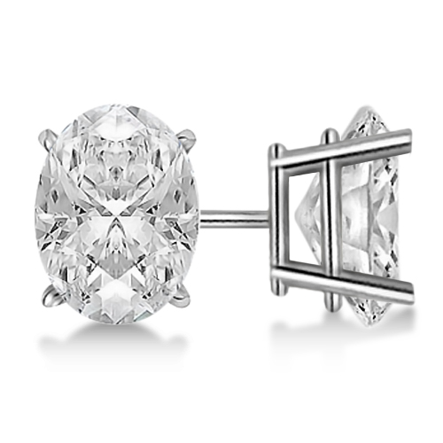 0996a6e5bc257 Oval Diamond Stud Earrings 4-Prong Basket Setting In 14K White Gold