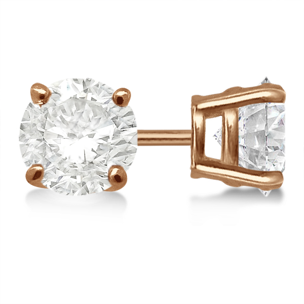 53a2eded3 Round Diamond Stud Earrings 4-Prong Basket Setting 14K Rose Gold - DY19