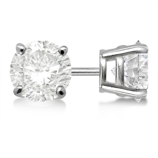 Round Diamond Stud Earrings 4 G Basket Setting In 14k White Gold