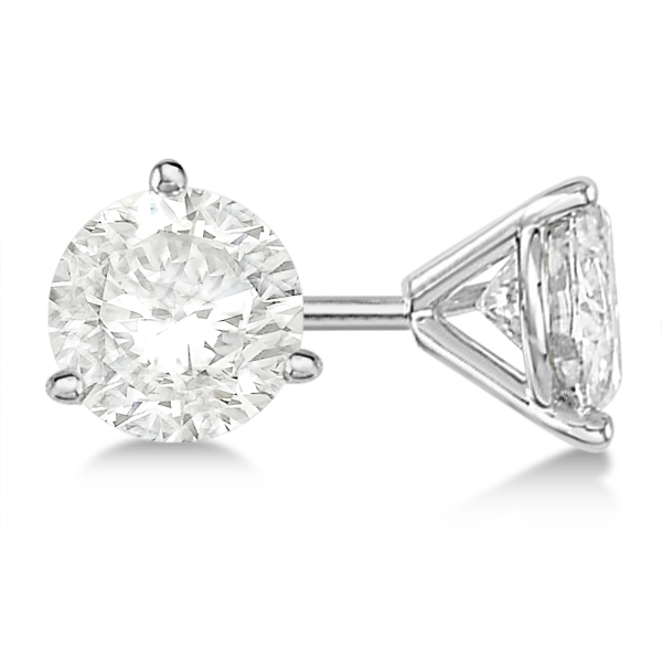 5ba6cd258 Round Diamond Stud Earrings 3-Prong Martini Setting 14K White Gold ...