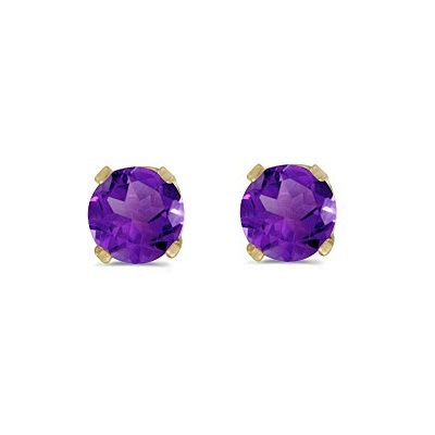 Round Amethyst Studs Earrings in 14k Yellow Gold (0.40 ct)