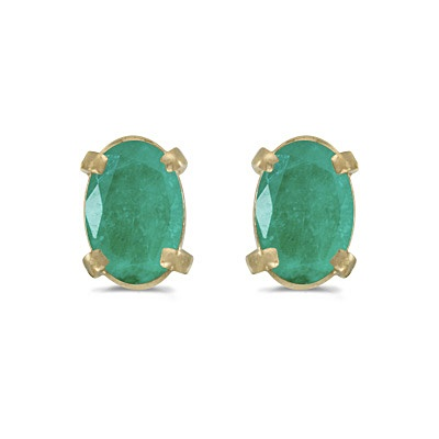Oval Emerald Studs May Birthstone Earrings 14k Yellow Gold (0.90ct)