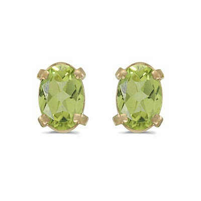 01a17ffbc55f0 Oval Peridot Studs August Birthstone Earrings 14k Yellow Gold (1.10ct)