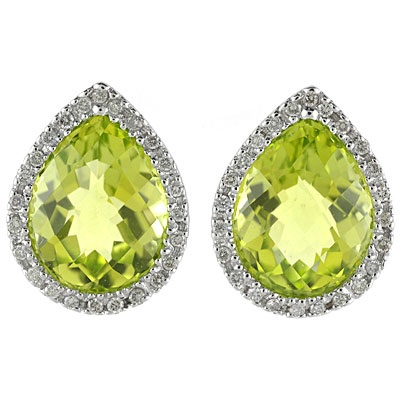 Allurez Pear Shaped Peridot and Diamond Earrings in 14k W...
