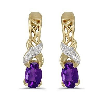 Oval Amethyst and Diamond February Birthstone Earrings 14k Yellow Gold
