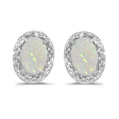 Diamond And Opal Earrings 14k White Gold 1 10ct