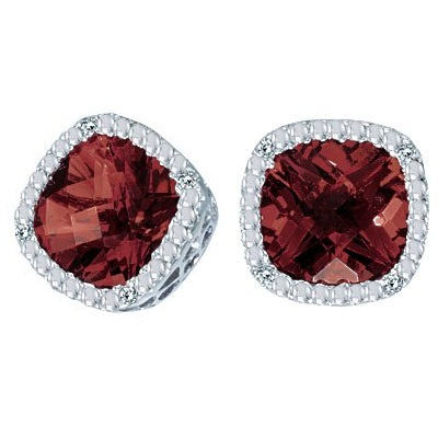 Allurez Cushion-Cut Garnet and Diamond Earrings in 14k Wh...