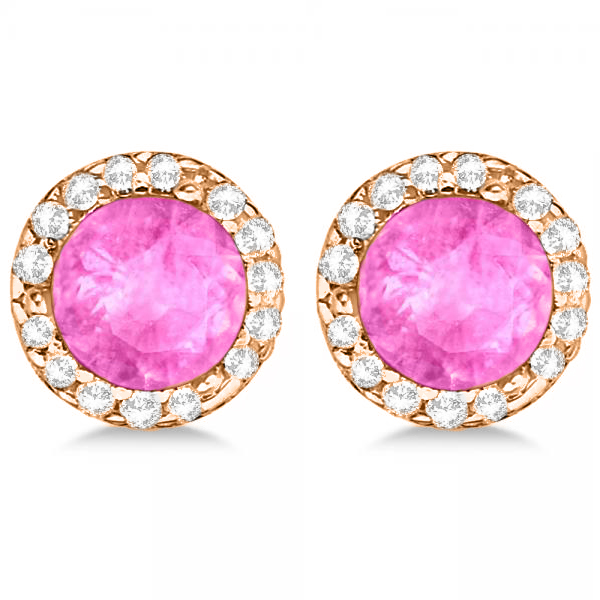 Diamond and Pink Sapphire Earrings Halo 14K Rose Gold (1.15ct)