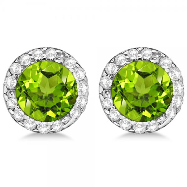 Diamond And Peridot Earrings Halo 14k White Gold 1 15ct