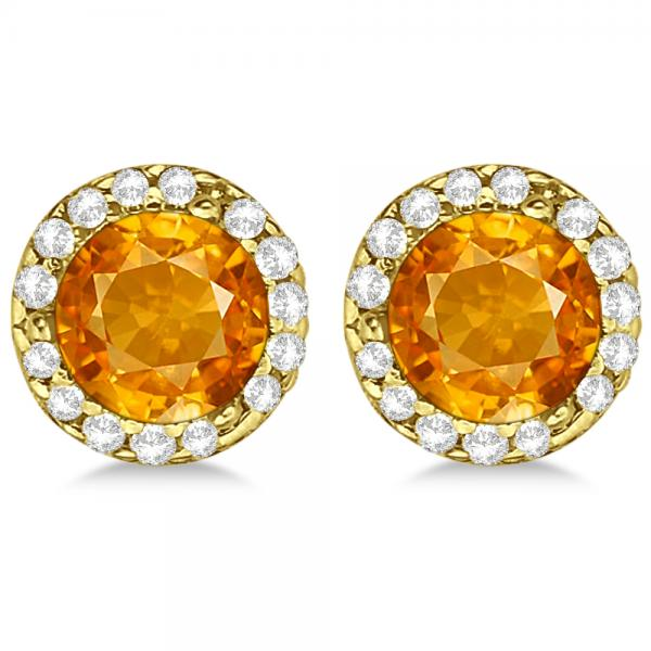 3fbc0634e Diamond and Citrine Earrings Halo 14K Yellow Gold (1.15ct) - CM161