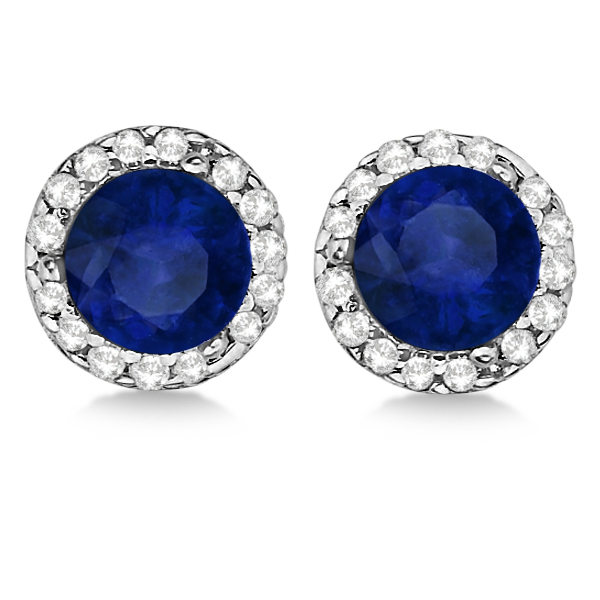 saphire diamond oval earrings pid and white sapphire gemstone blue gold