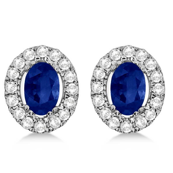 Oval Sapphire & Diamond Earrings, Halo Studs 14k White Gold 1.52ct
