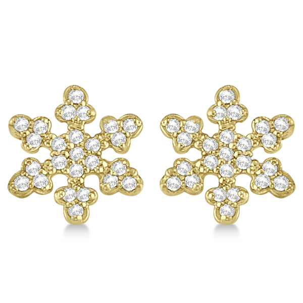 Diamond Snowflake Earrings 14k Yellow Gold 0 24ct