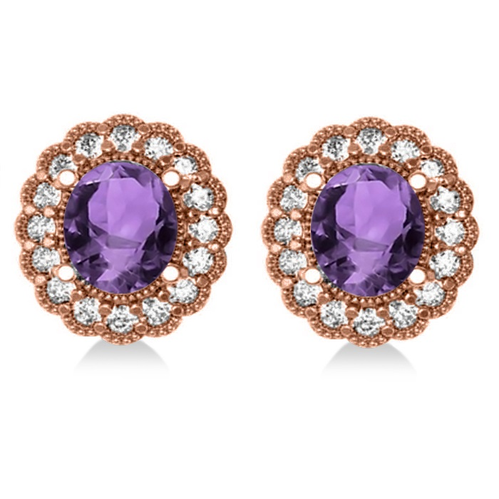 Amethyst & Diamond Floral Oval Earrings 14k Rose Gold (5.96ct)